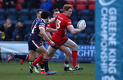 Jack Tovey of Bristol Rugby runs in to score a try - Mandatory by-line: Robbie Stephenson/JMP - 13/01/2018 - RUGBY - Castle Park - Doncaster, England - Doncaster Knights v Bristol Rugby - B&I Cup