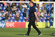Oxford United manager Karl Robinson walking off the pitch during the EFL Sky Bet League 1 match between AFC Wimbledon and Oxford United at the Cherry Red Records Stadium, Kingston, England on 29 September 2018.