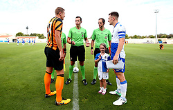 Tom Lockyer of Bristol Rovers and Michael Dawson of Hull City take part in the coin toss - Mandatory by-line: Robbie Stephenson/JMP - 18/07/2017 - FOOTBALL - Estadio da Nora - Albufeira,  - Hull City v Bristol Rovers - Pre-season friendly
