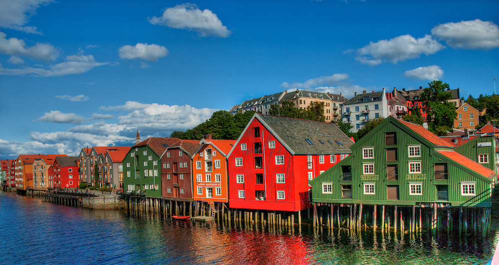 Colorful wooden houses riverfront Trondheim