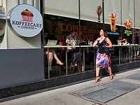 Passing the Koffeecake Corner on 85th street and Lexington Avenue in New York City
