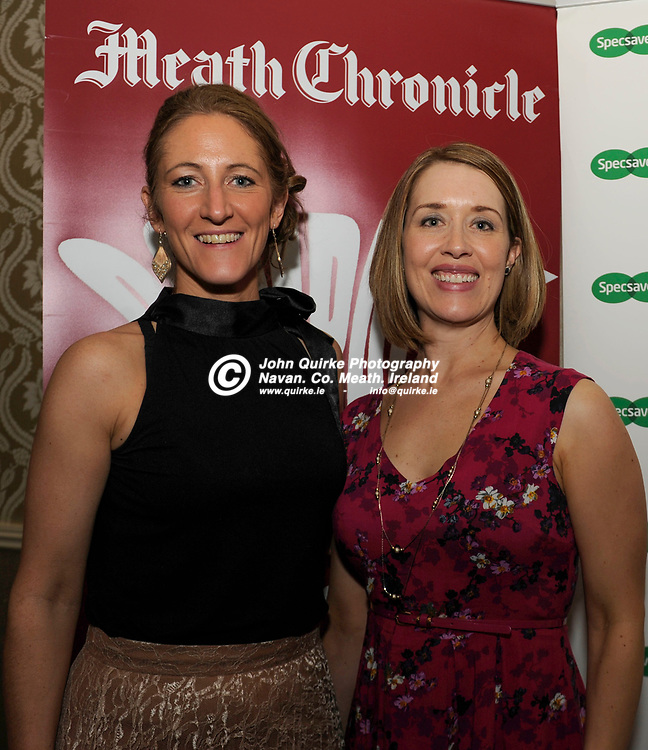 27-03-15. Meath Style Awards 2015 at the Headfort Arms Hotel, Kells.<br /> Lynsey Draper (Left) and Meghan Smith, Meath Chronicle.<br /> Photo: John Quirke / www.quirke.ie<br /> ©John Quirke Photography, Unit 17, Blackcastle Shopping Cte. Navan. Co. Meath. 046-9079044 / 087-2579454.