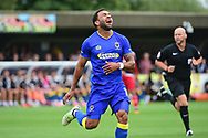 AFC Wimbledon Andy Barcham (17) misses a chance during the Pre-Season Friendly match between AFC Wimbledon and Watford at the Cherry Red Records Stadium, Kingston, England on 15 July 2017. Photo by Jon Bromley.