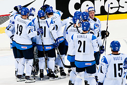 Players of Finland celebrate victory 2:1after ice-hockey match between Finland and Slovakia of Group E in Qualifying Round of IIHF 2011 World Championship Slovakia, on May 7, 2011 in Orange Arena, Bratislava, Slovakia. (Photo by Matic Klansek Velej / Sportida)