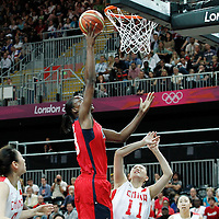 05 August 2012: USA Sylvia Fowles goes for the layup during 114-66 Team USA victory over Team China, during the women's basketball preliminary, at the Basketball Arena, in London, Great Britain.