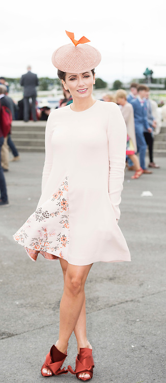 Today FM's Louise Duffy  at The g Hotel Best Dressed competitions on Ladies day of The Galway Races . Photo: Andrew Downes, Xposure.