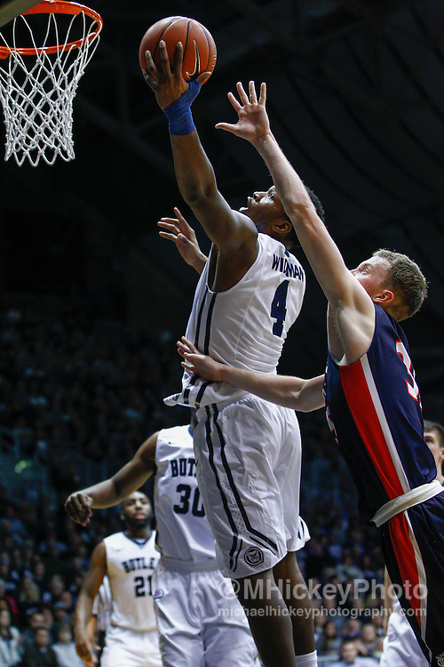 INDIANAPOLIS, IN - DECEMBER 28: Tyler Wideman #4 of the Butler Bulldogs shoots the ball against the Belmont Bruins at Hinkle Fieldhouse on December 28, 2014 in Indianapolis, Indiana. (Photo by Michael Hickey/Getty Images) *** Local Caption *** Tyler Wideman