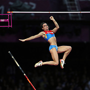 Elena Isinbaeva, Russia winning the Bronze Medal in the Women's Pole Vault Final at the Olympic Stadium, Olympic Park, during the London 2012 Olympic games. London, UK. 4th August 2012. Photo Tim Clayton