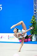 Hayakawa Sakura during qualifying at ball in Pesaro World Cup 10 April 2015. Sakura is a Japan rhythmic gymnastics athlete born March 17, 1997 in Osaka, Japan. She appeared in Senior competitions in the 2013 season.