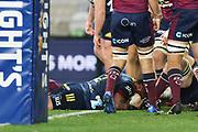 Ash Dixon scores a try.<br /> Highlanders v Reds, Sky Super Rugby Trans-Tasman, Round 1. Forsyth Barr Stadium, Dunedin, New Zealand. Friday 14 May 2021. © Copyright photo: Derek Morrison / www.photosport.nz