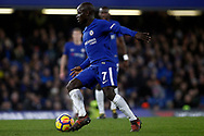 Ngolo Kante of Chelsea in action. Premier League match, Chelsea v Leicester City at Stamford Bridge in London on Saturday 13th January 2018.<br /> pic by Steffan Bowen, Andrew Orchard sports photography.<br /> contact and payments to Andrew Orchard, 2 Old Vicarage close,
