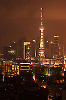 Oriental Pearl viewed at night in Shanghai China