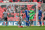 Nathan Arnold (Grimsby Town) looks to the heavens having missed a chance during the FA Trophy match between Grimsby Town FC and Halifax Town at Wembley Stadium, London, England on 22 May 2016. Photo by Mark P Doherty.
