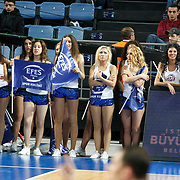 Efes Pilsen's show girls during their Turkish Basketball league derby match Efes Pilsen between Fenerbahce Ulker at the Sinan Erdem Arena in Istanbul Turkey on Sunday 24 April 2011. Photo by TURKPIX