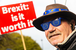A Remain campaigner's flakes are decorated with the EU flag. London, January 14 2019.