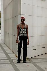 Street style, Rickey Thompson arriving at Ludovic de Saint Sernin Spring Summer 2022 show, held at Institut du Monde Arabe, Paris, France, on Ocotber 3rd, 2021. Photo by Marie-Paola Bertrand-Hillion/ABACAPRESS.COM