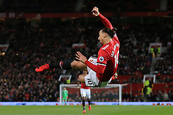 18th November 2017 - Premier League - Manchester United v Newcastle United - Zlatan Ibrahimovic of Man Utd shoots with an acrobatic effort - Photo: Simon Stacpoole / Offside.
