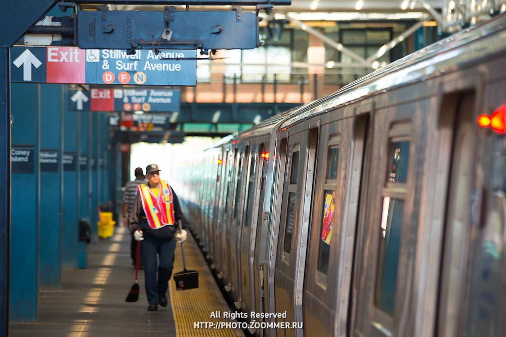 Train and platform on Coney Island subway station, Brooklyn, New York