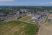 Flyfoto av Ås sentrum, som er et lite område med rådhuset sentralt plassert.  Ås er også en kommune i Follo i Akershus