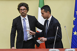 Italy, Rome - April 24, 2018.The leaders of Five Star Moviment (M5S) Danilo Toninelli (R) and Luigi Di Maio talk to the media after a meeting with Lower House Speaker Roberto Fico for a round of consultations in Rome, Italy, 24 April 2018. (Credit Image: © Mistrulli/Fotogramma/Ropi via ZUMA Press)