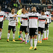 Besiktas's players celebrate victory during their Turkish superleague soccer match Besiktas between Sivasspor at Osmanli Stadium in Istanbul Turkey on Sunday 19 October 2014. Photo by Kurtulus YILMAZ/TURKPIX