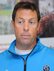 Somerset captain Marcus Trescothick speaks to the press after the day was abandoned meaning Somerset draw with Worcestershire - Mandatory byline: Alex Davidson/JMP - 07966386802 - 24/08/2015 - Cricket - County Ground -Taunton,England - Somerset CCC v Worcestershire CCC - LV= County Championship Division One - Day 4