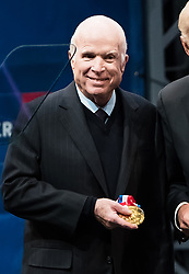 U.S. Senator John McCain awarded with Liberty Medal for his lifetime of service and sacrifice at 2017 Liberty Medal Ceremony at National Constitution Center in Philadelphia, PA. The Liberty Medal is awarded annually by the National Constitution Center to men and women of courage and conviction who have strived to secure the blessings of liberty to people the world over. In the past two decades, the Medal's roster of recipients includes Nelson Mandela, Sandra Day O'Connor, Kofi Annan, Shimon Peres, and Colin Powell. 16 Oct 2017 Pictured: John McCain. Photo credit: MEGA TheMegaAgency.com +1 888 505 6342