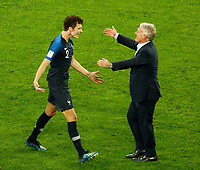SAINT PETERSBURG, RUSSIA - JULY 10: France national team head coach Didier Deschamps (R) and Benjamin Pavard celebrate victory during the 2018 FIFA World Cup Russia Semi Final match between France and Belgium at Saint Petersburg Stadium on July 10, 2018 in Saint Petersburg, Russia. MB Media
