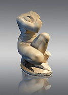 Aphrodite Crouching whilst bathing. The Goddess of love Aphrodite, Venus to the Romans is depicted crouching whilst bathing, she looks to one side as if surprised by something. In this style of Aphrodite statue her arms stretch across in front of her and her right hand gently touches her right shoulder. In this variant of the style she is accompanied by Eros, traces of whose feet and hand survive, and a swan. This statue is a  2nd century Roman copy of a lost Greek. Hellanistic original of the mid 3rd century BC attributed to the Greek sculptor Doldalsas of Bethynia. This version of Aphrodite Bathing made around AD 117-138 is the most artistically successful version know. Capitoline Museums, Rome