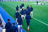 Leeds United players begin warming up during the Premier League match between Crystal Palace and Leeds United at Selhurst Park, London, England on 7 November 2020.