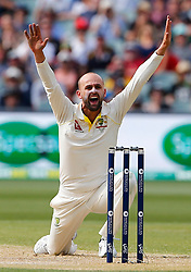 Australia's Nathan Lyon appeals for the wicket of Alastair Cook during day four of the Ashes Test match at the Adelaide Oval, Adelaide.