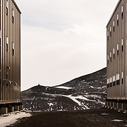 Dorm buildings with view toward Hut Point