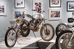 """Bryan Fuller's Ducati scrambler custom Michael Lichter's annual Motorcycles as Art Show """"Naked Truth"""" at the Buffalo Chip during the 75th Annual Sturgis Black Hills Motorcycle Rally.  SD, USA.  August 6, 2015.  Photography ©2015 Michael Lichter."""