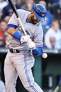 April 20 2012: Toronto Blue Jays right fielder Jose Bautista (19) is struck by an inside pitch in the first inning during the game between the Toronto Blue Jays and the Kansas City Royals at Kauffman Stadium in Kansas City, MO. The Toronto Blue Jays defeated the Kansas City Royals 4-2.