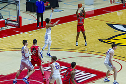 NORMAL, IL - February 27:  DJ Horne is left all alone for a shot from beyond the 3 point line during a college basketball game between the ISU Redbirds and the Northern Iowa Panthers on February 27 2021 at Redbird Arena in Normal, IL. (Photo by Alan Look)