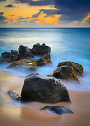 Rocks on Sunset Beach on Oahu, Hawaii
