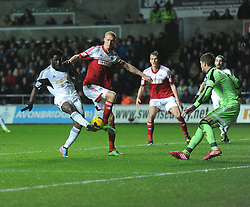 Swansea City's Wilfried Bony shoots at goal. - Photo mandatory by-line: Alex James/JMP - Tel: Mobile: 07966 386802 28/01/2014 - SPORT - FOOTBALL - Liberty Stadium - Swansea - Swansea City v Fulham - Barclays Premier League