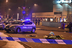 Berlin's attack terrorist Anis Amri shot dead by itaian police in Sesto San Giovanni, near Milan.<br /> 23 Dec 2016<br /> Pictured: Shooting in the night in Sesto San Giovanni, Milan: terrorist Anis Amri shot dead.<br /> Photo credit: D. Bennati / MEGA<br /> <br /> TheMegaAgency.com<br /> +1 888 505 6342