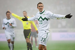 Tim Matavz of Slovenia celebrates during friendly football match between National teams of USA and Slovenia, on November 15, 2011 in SRC Stozice, Ljubljana, Slovenia.  (Photo By Vid Ponikvar / Sportida.com)