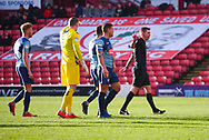 Matthew Donohue (Referee) waves away Wycombe protests after awarding a penalty during the EFL Sky Bet League 1 match between Barnsley and Wycombe Wanderers at Oakwell, Barnsley, England on 16 February 2019.