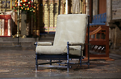 Ronnie Corbett's famous chair used for his monologues on The Two Ronnies on the High Altar at Westminister Abbey, London ahead of Service of Thanksgiving for the Life and Work of the comedian who died last year.