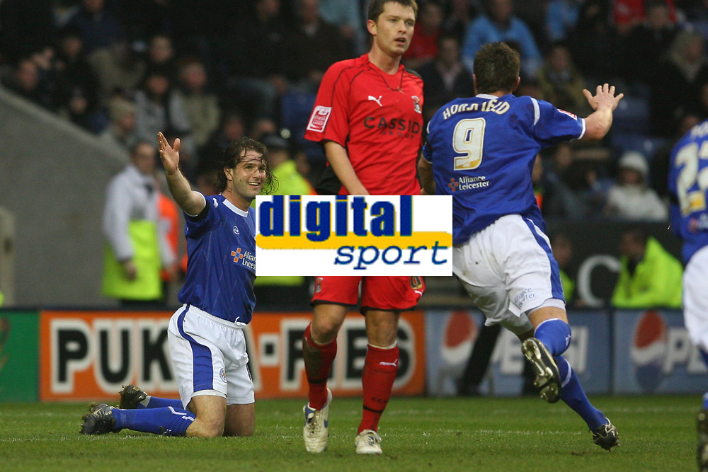 Photo: Pete Lorence.<br />Leicester City v Coventry City. Coca Cola Championship. 17/02/2007.<br />Geoff Horsfield runs in to congratulate Nils-Eric Johansson's goal.