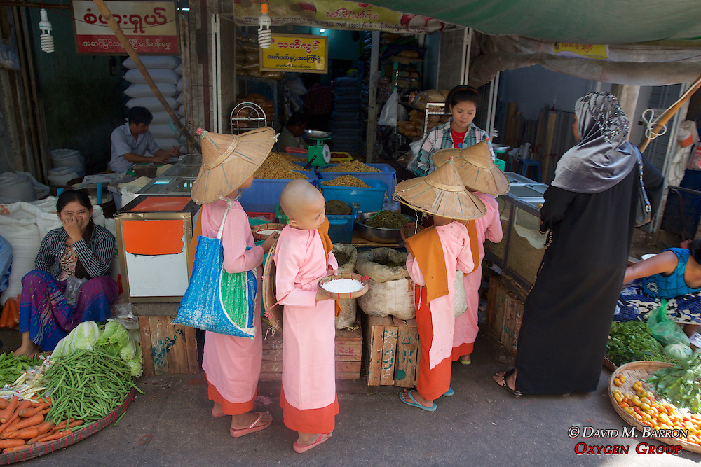 Young Monks Asking For Food, Gyee Zai Market