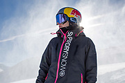 Great British freestyle skier Katie Summerhayes from GB Park & Pipe, the freestyle Ski and Snowboard Olympic development team, at their brand new winter training facility in Mottolino Snow Park on 5th December 2017 in Livingo, Italy. The Big Air Bag is the first of its kind and has been developed by the GB Park & Pipe team. The air bag was built by BigAirBag company from Holland.