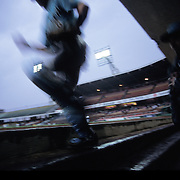 MEXICO CITY, MEXICO: Players make their way onto the field for a Mexican Baseball League game in Mexico City, Mexico.