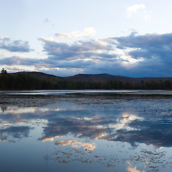 Clouds reflect in Robb Reservoir in Stoddard, New Hampshire.