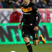 Andrew Wenger, Houston, in action during the New York Red Bulls Vs Houston Dynamo, Major League Soccer regular season match at Red Bull Arena, Harrison, New Jersey. USA. 19th March 2016. Photo Tim Clayton