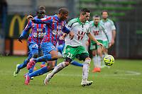 Jordan ADEOTI / Romain HAMOUMA - 01.02.2015 - Caen / Saint Etienne - 23eme journee de Ligue 1 -<br />Photo : Vincent Michel / Icon Sport