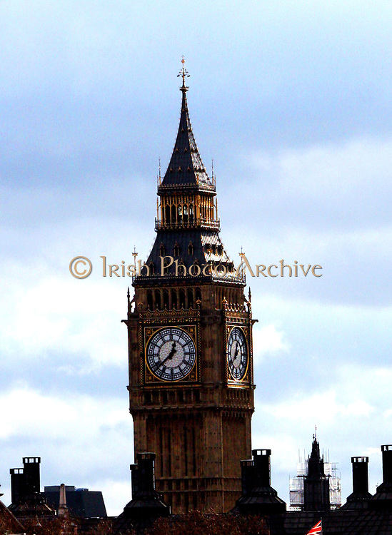 Elizabeth Tower Clock (Nicknamed 'Big Ben') at the Palace of Westminster in London. Designed by Augustus Pugin and completed in 1858 AD.