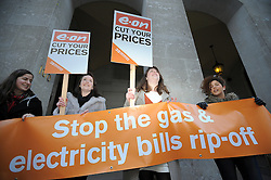 © London News Pictures. 16/01/2012. London, UK. Members of the group 38 Degrees protest against rising gas and electricity prices, outside the UK  headquarters of energy service provider E.ON in London today (16/01/2012). Photo credit : LNP